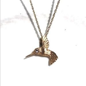 Jewelry - 14k solid gold diamond ruby hummingbird pendant